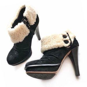 UGG Suede + Fur Slouch Platform Heel Ankle Bootie